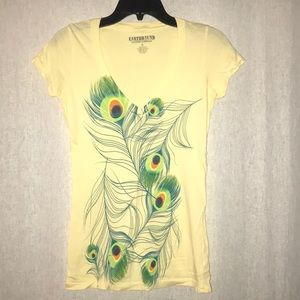 Yellow T-shirt with peacock detail